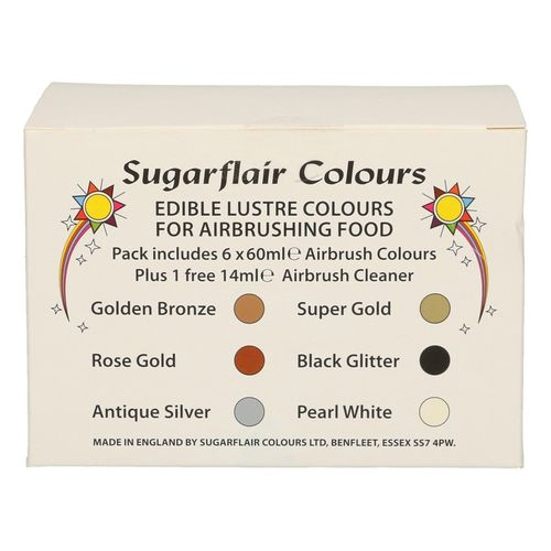Airbrush Schimmerfarben Multipack 6x60ml Sugarflair